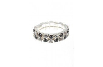 Ring Strass 2 Line Black/White