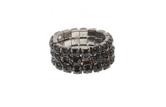 Ring Strass 3 Line Black